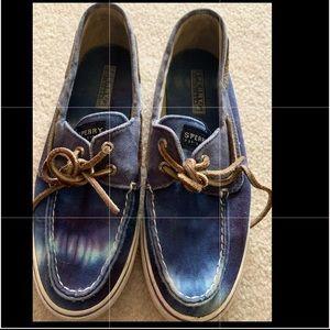 Like new sperry boat shoes tye dye